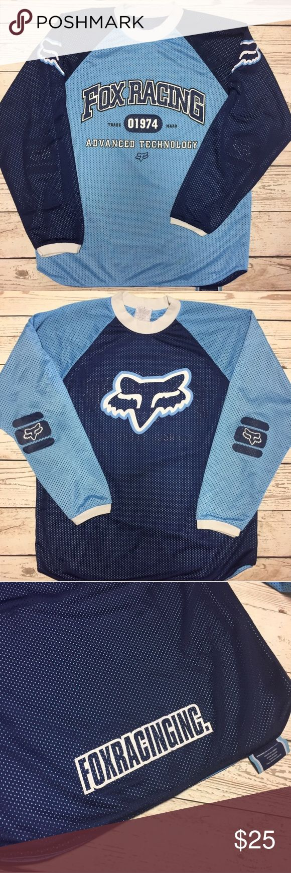 Men's Reversible Fox Racing Jersey Men's size Large reversible jersey. Colors are navy and baby blue. In good used condition. No stains or tears. ✔️ Fox Shirts