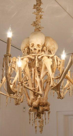 Skeleton chandelier.