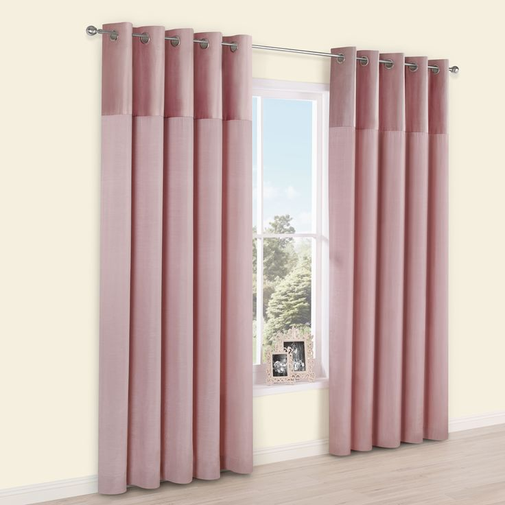 Linnet Dusky Pink Panelled Velvet & Faux Silk Eyelet Curtains (W)228cm (L)228cm | Departments | DIY at B&Q