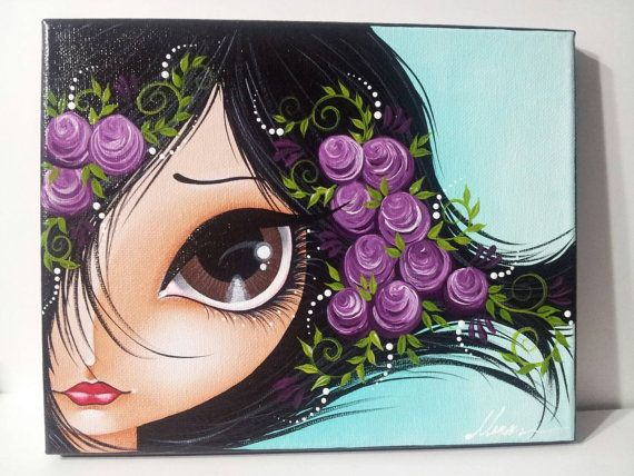 Etsy listing at https://www.etsy.com/listing/263543503/purple-flowers-big-brown-eye-girl