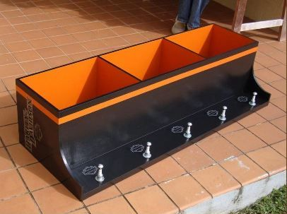 Organize your jackets and helmets in style with this storage. It looks really cool and very Harley! This will look great in any room – or even a pub or bar where many bikers chill. Click the link to view this item. Harley-Davidson Helmet & Jacket Storage
