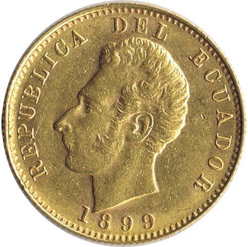 Moneda de oro 10 sucres Ecuador 1899.