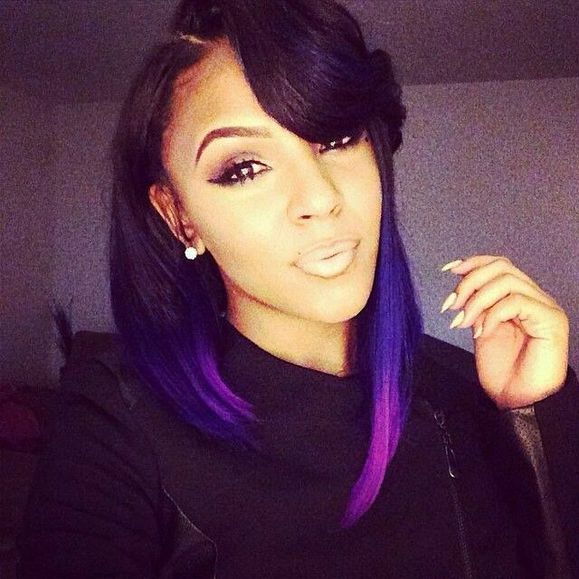 Purple Ombre Bob With Side Bang African Braids Weaves