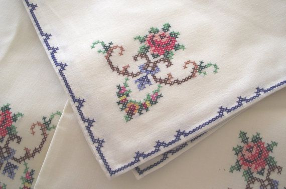 Vintage napkins 12 embroidery cross stiched roses by divasvintage