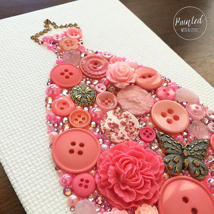 Roze jurk knop Art roze bal toga muur door PaintedWithButtons