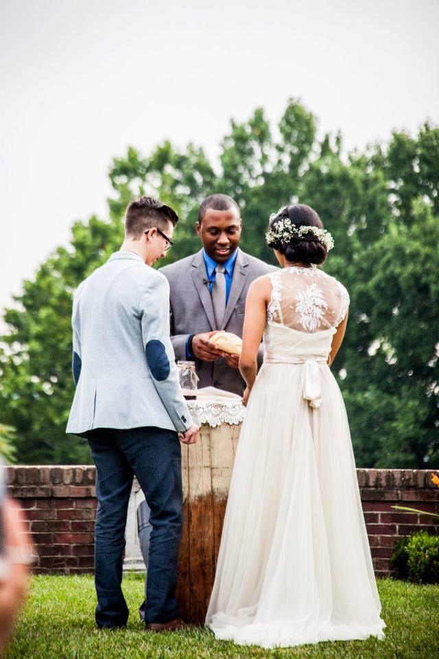 first communion together garden wedding ceremony vintage