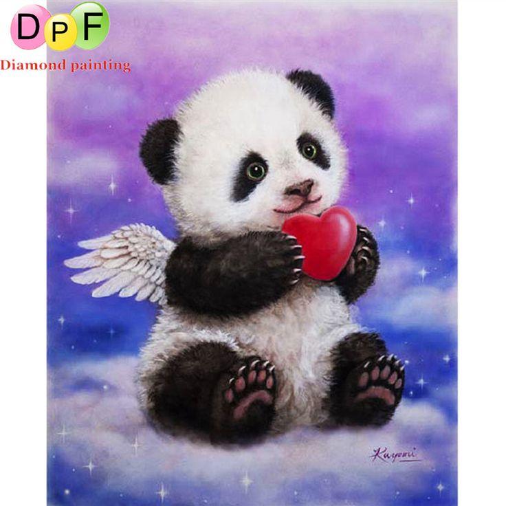 DPF Panda angel Diamond Mosaic picture diy Diamond Painting cross stitch square full  set diamond embroidery for gift #Affiliate