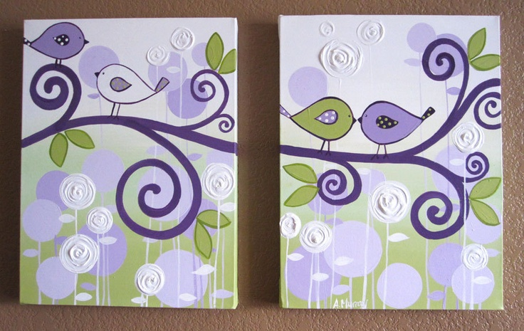 Wall Art, Lavender Purple and Green Modern Bird Nursery Art,  Two 12x16 Canvases, Made to Order. $140.00, via Etsy.