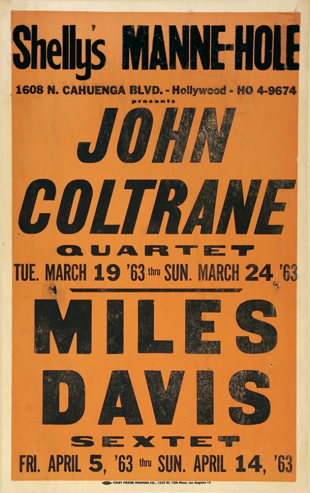 It was 1963, Miles & Coltrane in Hollywood. Personnel are John Coltrane's classic quartet with McCoy Tyner, Jimmy Garrison, and Elvin Jones. Miles Davis's sextet was a temporary band formed after Wynton Kelly, Paul Chambers, and Jimmy Cobb left, with Frank Strozier (as), George Coleman (ts), Harold Mabern (p), Ron Carter (b), and Frank Butler (d). This was one of Ron Carter's earliest gigs with Miles.