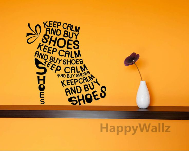 Keep Calm Motivational Quote Wall Sticker DIY Keep Calm Buy Shoes Quote Wall Decal Vinyl Wall Quote Lettering Custom Colors Q53