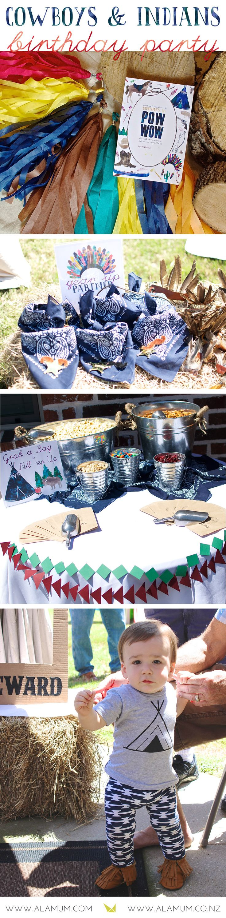 Cowboys and Indians party for Boy 1st Birthday Party. DIY Pow-Wow Themed Birthday Party for the boy who loves playing cowboys and Indians! Full decor includes drink station, creative party desserts display, unique and fun photo booth setup with props, plus fun take on cake smash with a pie smash instead! |  www.alamum.com | www.alamum.co.nz