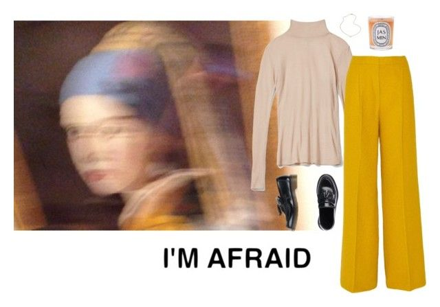 """Afraid of my own power"" by vesleku on Polyvore featuring Dr. Martens, Diptyque, Imperia, MaxMara, Jennifer Zeuner, yellow and turtleneck"