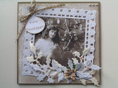 Trijntjes Kaarten: vintage kerstkaart met hulsttakken
