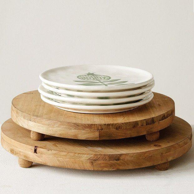 Round Wood Pedestal Display,  set of 2