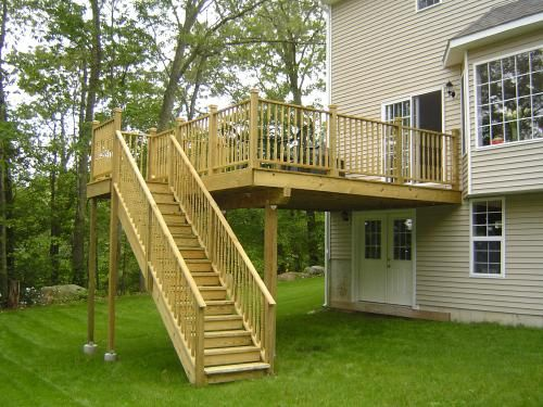 2nd story deck stairs composite decking pvc railings for How to build a 2nd story floor