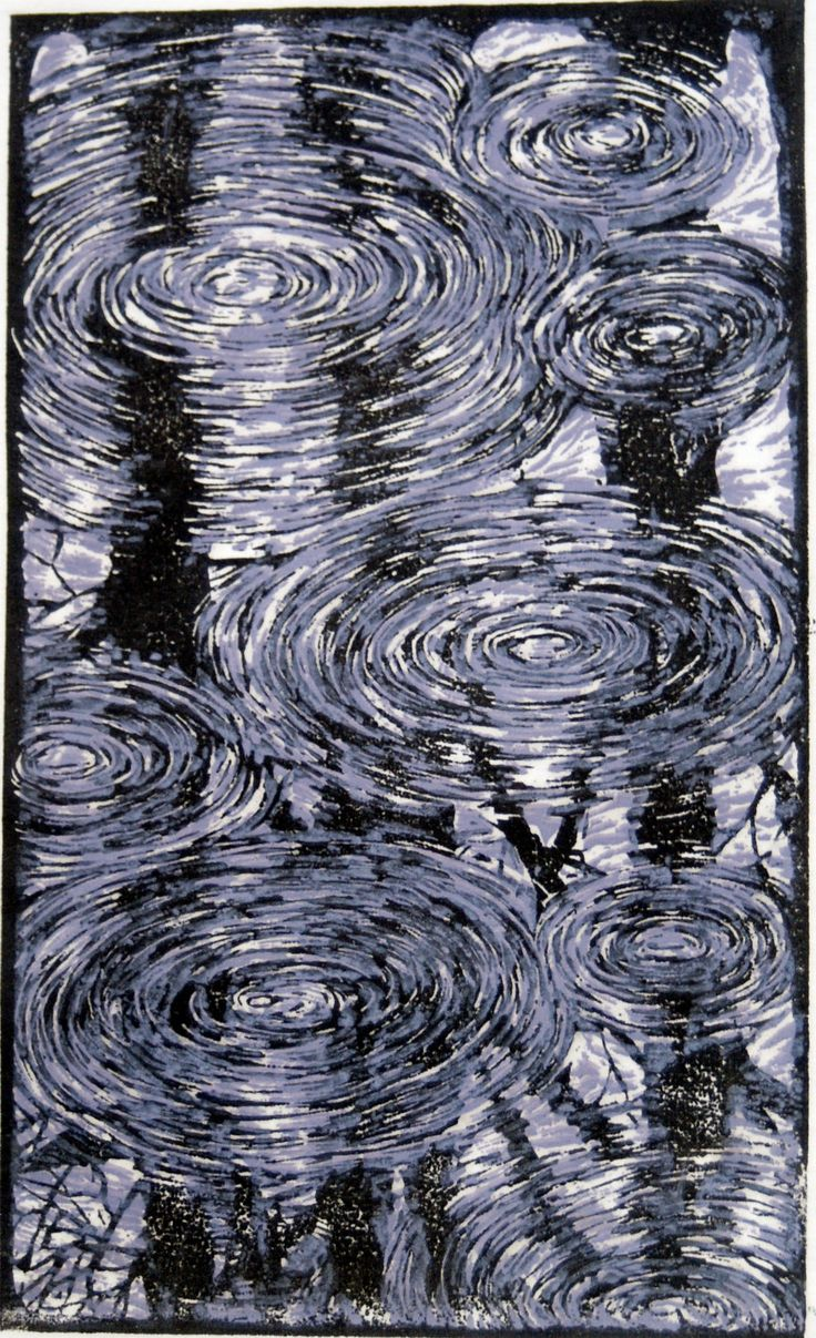 Spring Rain - Linoleum Print by Andrew Jagniecki I really like this work - the lovely dark reflections under the ripples. S