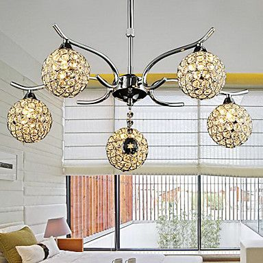 Modern Minimalist 5 Light Chandelier In Crystal Design (220V-240V) - USD $ 179.99