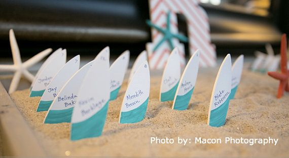 Set of 50 Surfboard Escort Cards - Place Cards - Table Numbers - Beach Destination Wedding