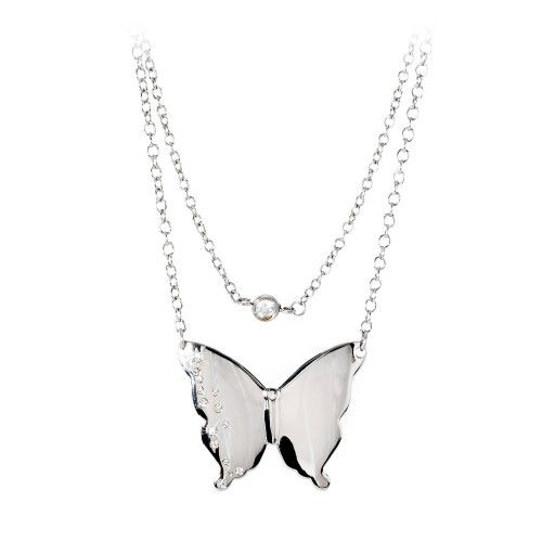 Collana donna in acciaio due fili con pendente farfalla serie Diva