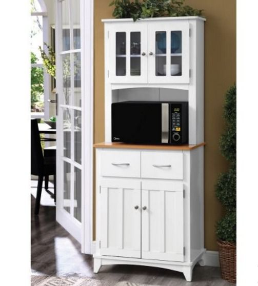 Home Source Microwave Cabinet Tall Storage Cabinet Pantry ...