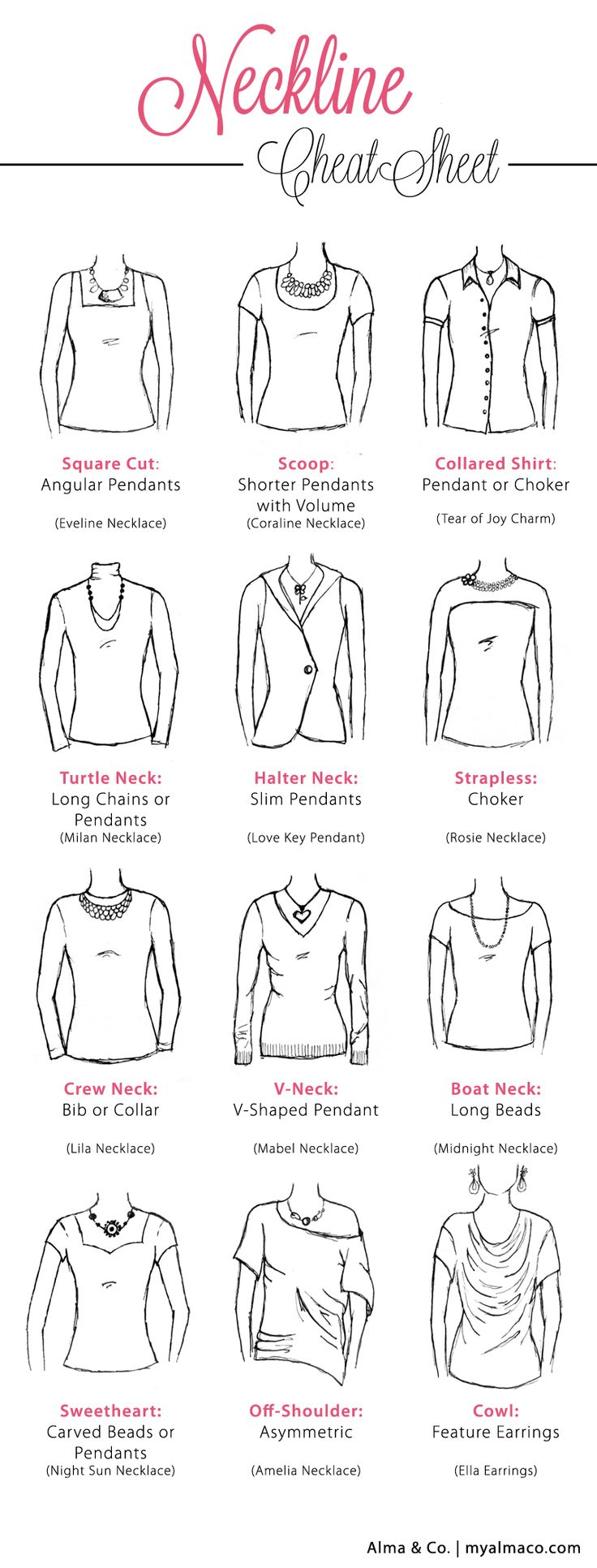 Neckline Cheat Sheet   Alma & Co.   How to pair your favorite dress with that perfect piece of jewerly