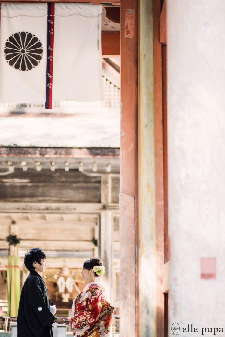 和装前撮り*新郎新婦と神社とたこ  *ウェディングフォト elle pupa blog*