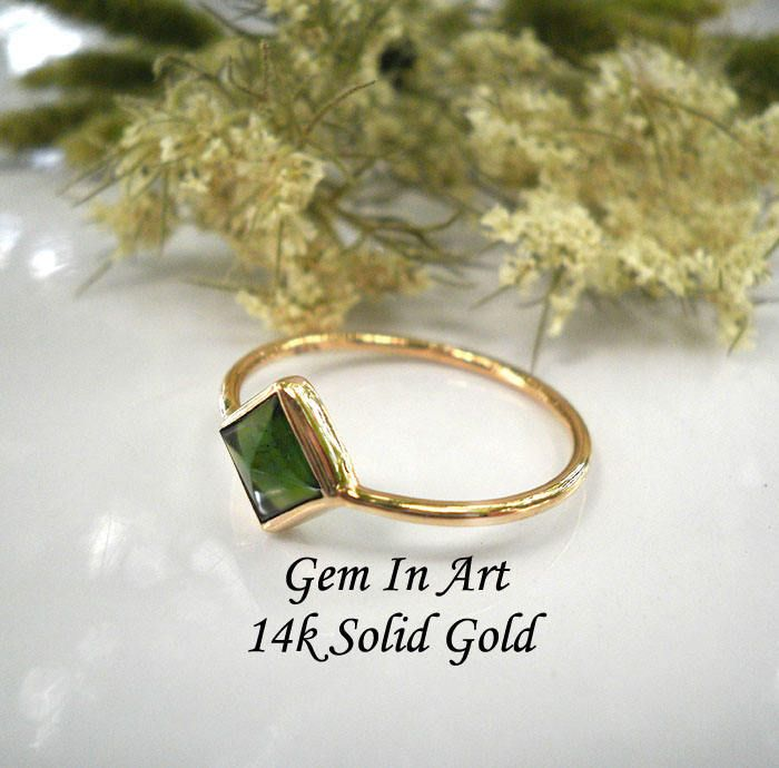 Gold ringGreen Tourmaline gold ringGeometrical gold