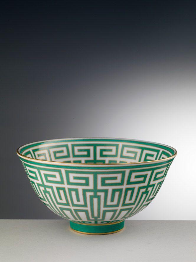 "Gio Ponti e Richard Ginori. ""Labyrinth"" bowl, 1926 (decor), chrome and hand-painted porcelain, ©Associazione Amici di Doccia/Arrigo Coppitz"