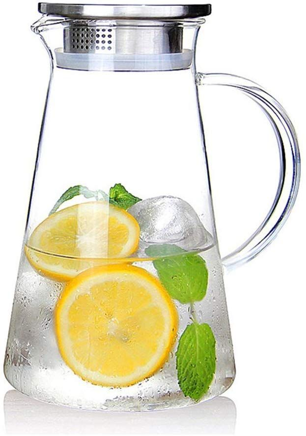 Amazon Com Susteas 2 0 Liter 68 Ounces Glass Pitcher With Lid Iced Tea Pitcher Water Jug Hot Cold Water Ice Tea Wine Co Iced Tea Pitcher Tea Pitcher Iced Tea