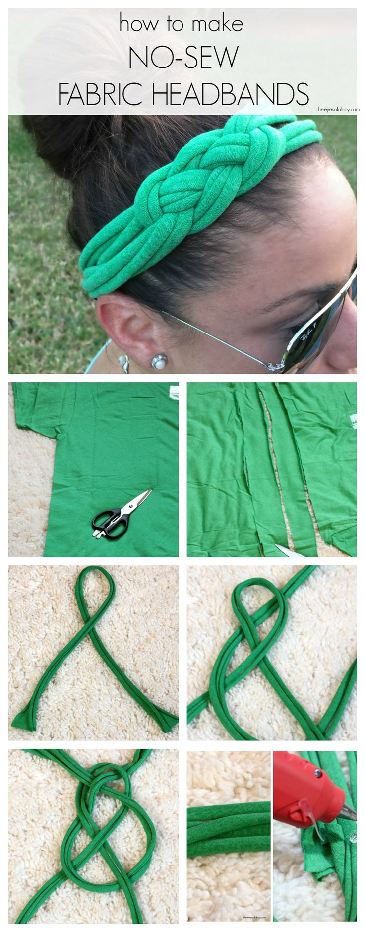 How to Make No Sew Fabric Headbands with Celtic Knot from T Shirts