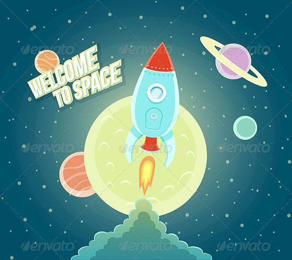 Space Rocket Ship Cartoon Flat Design - Concepts Business