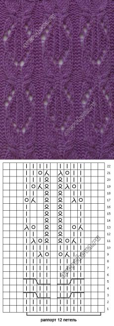 узор 169 | каталог вязаных спицами узоров