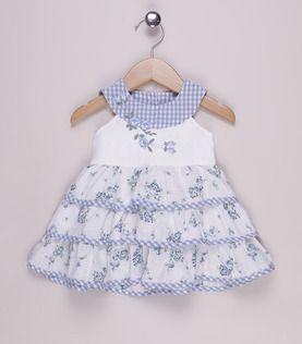 Vestido floral branco e azul claro
