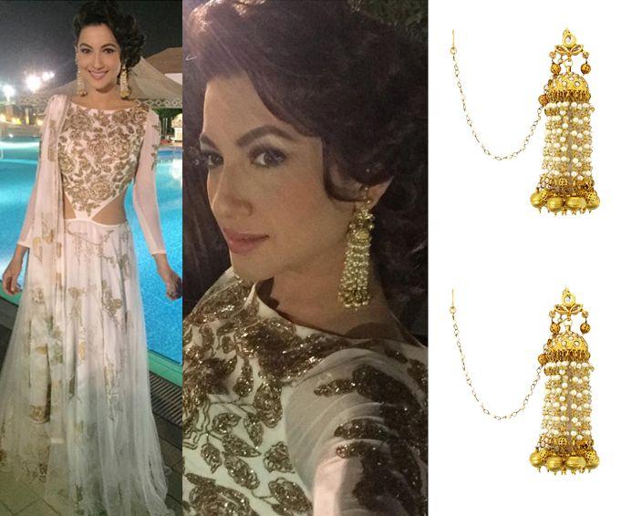 Gauhar Khan in Soranam earrings #perniaspopupshop #shopnow #celebritycloset #designer #clothing #accessories