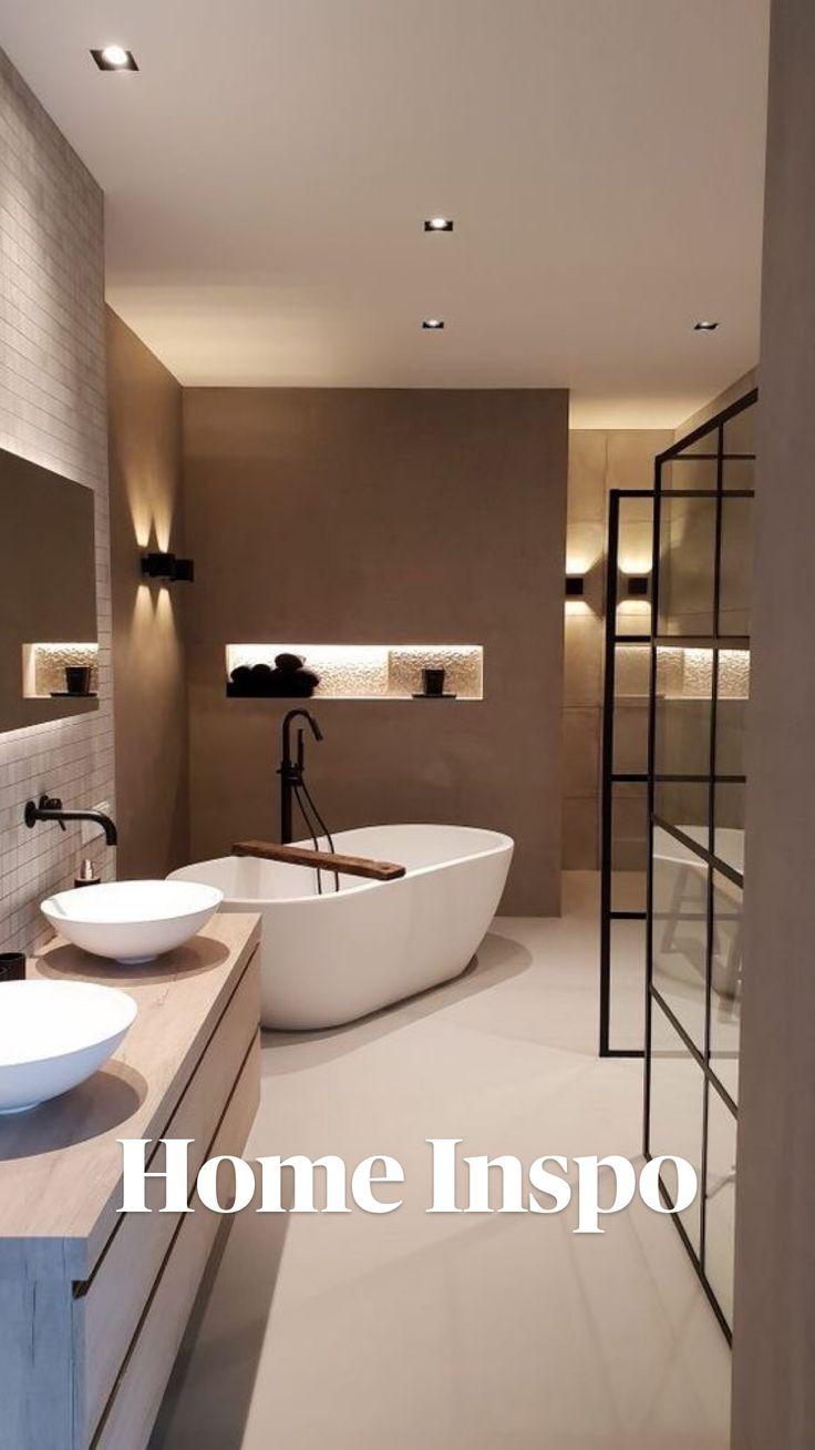 Bathroom Design Luxury, Modern Bathroom Design, Luxury Interior Design, Interior Design Living Room, Modern Luxury Bathroom, Bathroom Lighting Design, Modern Small Bathrooms, Modern Bathtub, Modern Master Bathroom