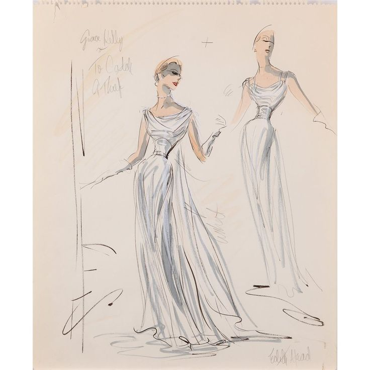 Edith Head costume design sketch for Grace Kelly from Alfred Hitchcock's To Catch a Thief