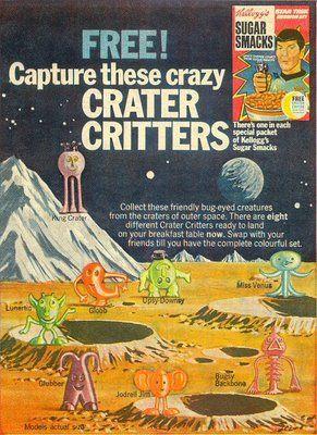 Kellogg's Crater Critters set from around 1970. There were eight in the set and they came in a variety of colours.