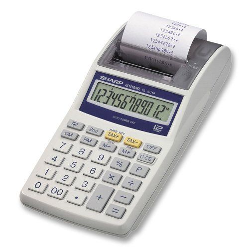 Sharp Electronics EL1611PA Printing Calculator with AC Adapter by Sharp. $21.04. The EL1611PA 12-digit, printing calculator by Sharp can be used for light accounting in the home or small office. It features + tax and - tax keys, along with 4-key memory which includes memory plus, memory minus, and recall/clear. The dual power calculator runs on four AA batteries or can be connected to an outlet via the included AC adaptor. Its compact size allows it to sit unobt...