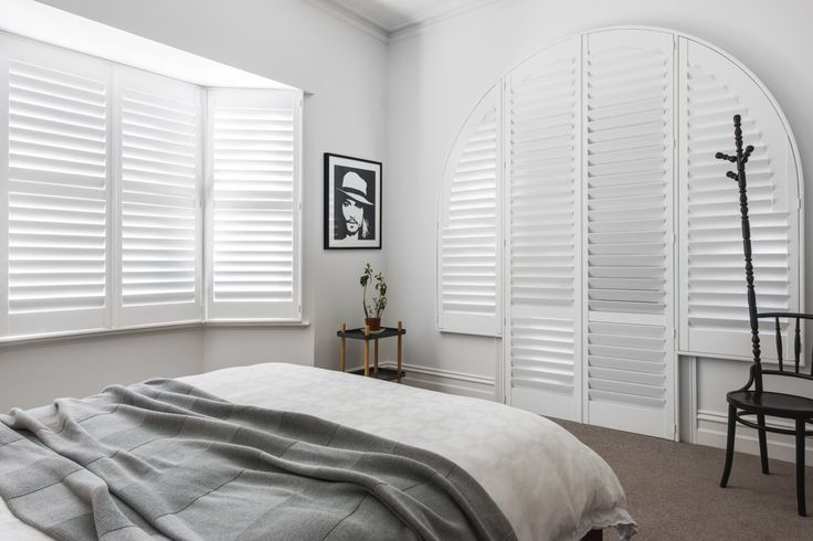 Custom Timber Shutter in Phoenixwood – Silk White, 89mm Blade                                                                          |                                                                          Window Furnishing: Shutters                                                                          |                                                                          Room: Bedroom