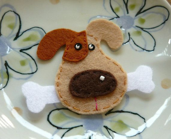 Light Brown Dog Face Felt Appliqué - inspiration only