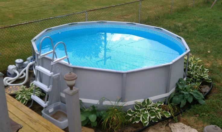 25 best ideas about intex above ground pools on pinterest for Above ground pool surround ideas