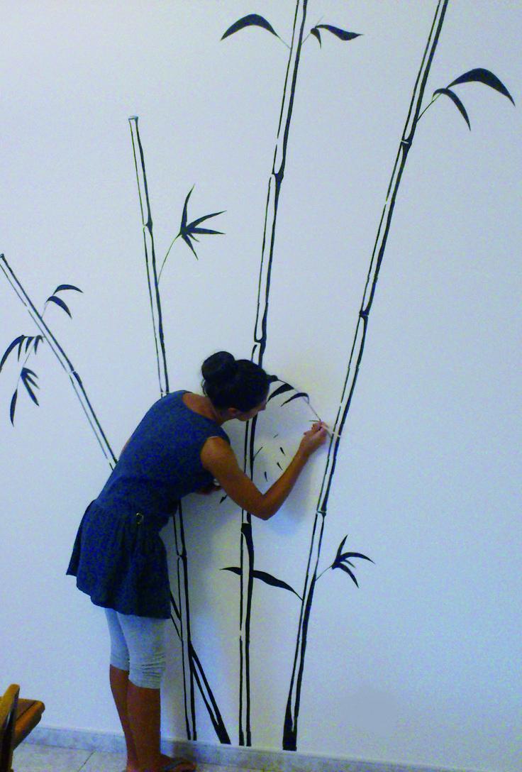 Decorazione a parete. Disegno bambù.   By Annalisa Tombesi