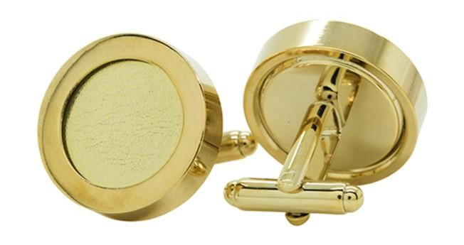 14K Gold & Leather Cufflinks
