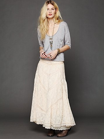 FP X Annie Oakley Lace Skirt - such a beautiful long white lace skirt and lovely grey top with necklace, stunning outfit