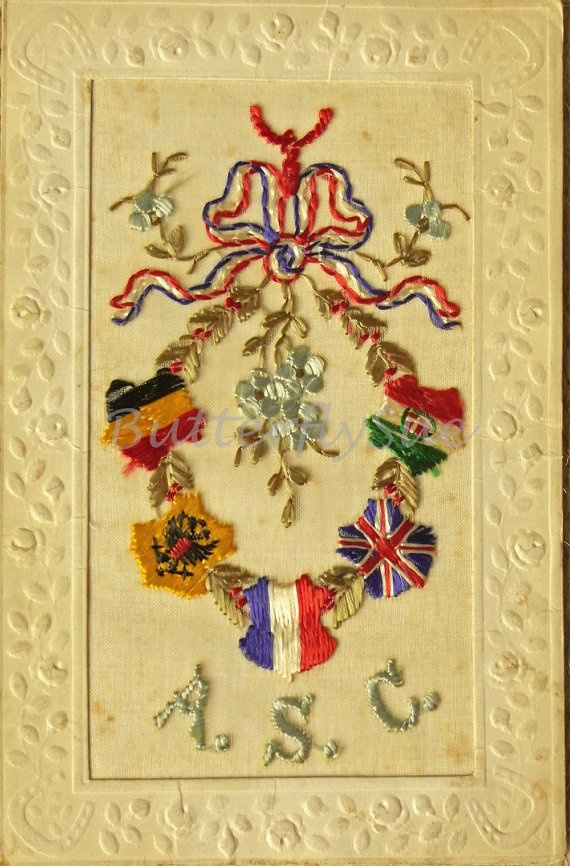 WW1 French Silk Embroidered Postcard 1915--ASC-- Unposted--Army Service…