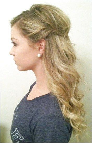 half up style wavy curls with side twist. Pins For Your Health #HairBraiding