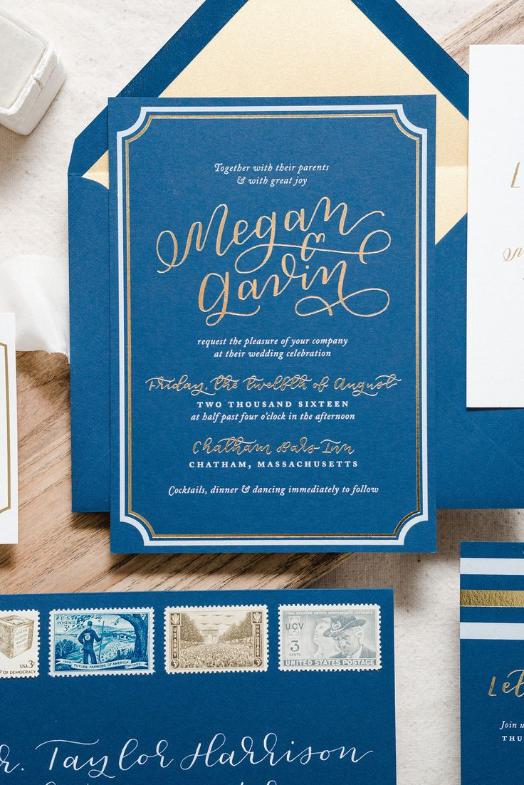 custom wedding invitations nashville%0A Nautical Navy and Gold Foil Wedding Invitations