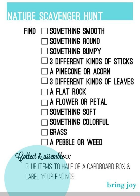 Nature scavenger hunt. Your kids can do this while camping, at a park, or even in your backyard:
