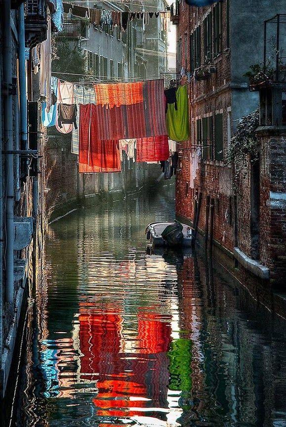 Laundry drying in Venice, Italy