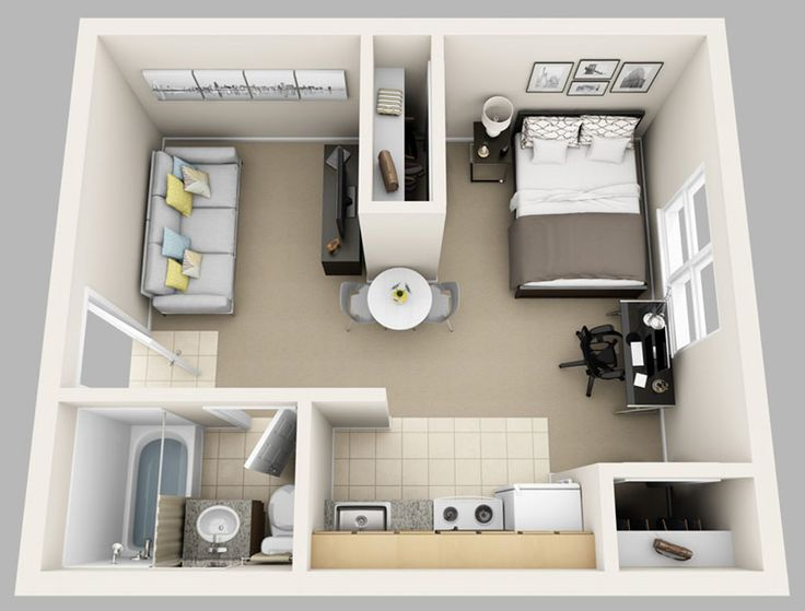 College park studio 1530 3d for web small house for One bedroom apartment design plans